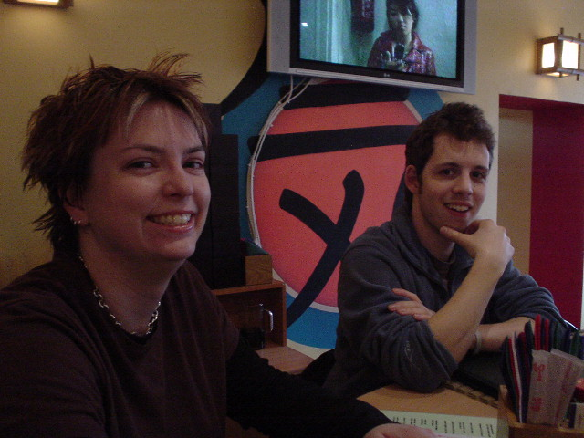 Amy and Nick in a sushi restaurant in St. Petersburg