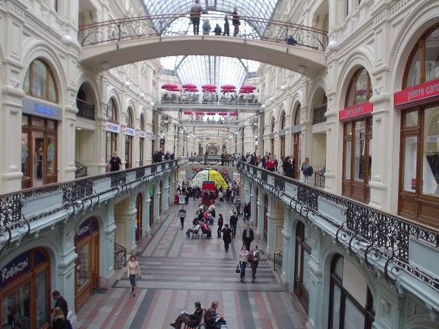 Down the main hall of GUM in Moscow