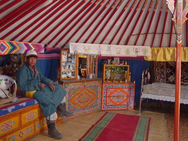 Inside a nomadic ger