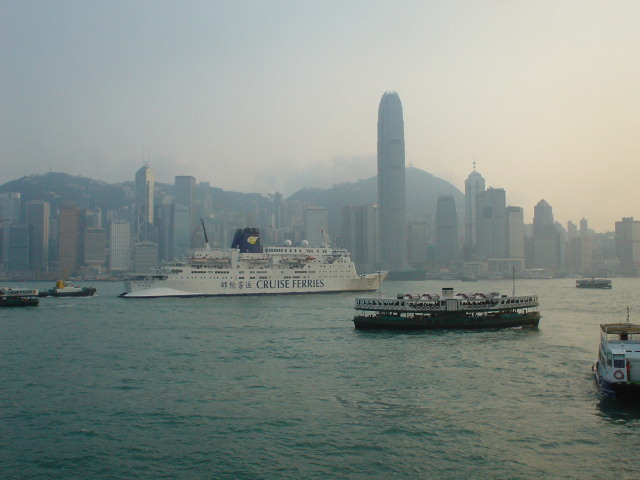 Boat traffic in Hong Kong Harbour